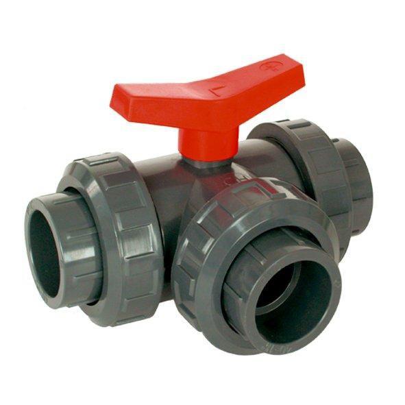PVC kulový třícestný ventil (50mm L) - Stavba jezírka,hadice,trubky,fitinky Kulové ventily, klapky, rozdělovače