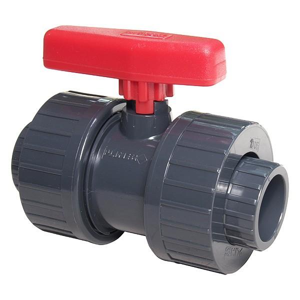 PVC kulový dvoucestný ventil 40mm - Stavba jezírka,hadice,trubky,fitinky Kulové ventily, klapky, rozdělovače