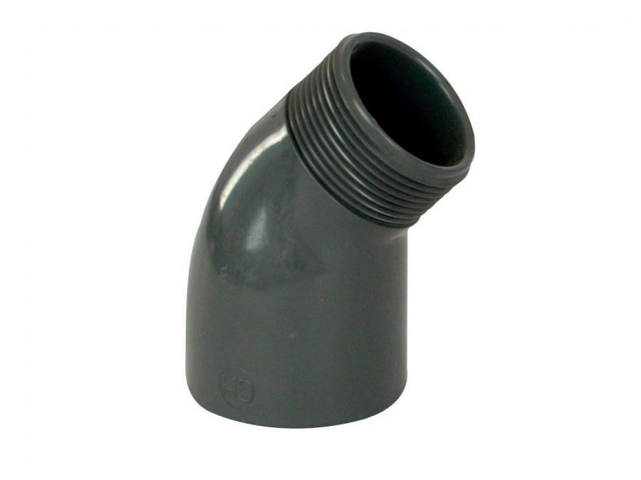 PVC úhel-koleno 45°-50mm int. x 50mm ext. - Stavba jezírka,hadice,trubky,fitinky Tvarovky,fitinky Úhly