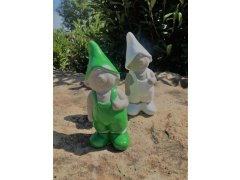 Skřítek zelený a bílý menší (keramika)