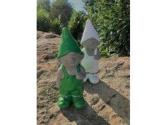 Skřítek zelený a bílý větší (keramika)