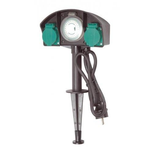 Zahradní zásuvka (dvojnásobná + časovač) - Osvětlení, elektro u jezírka Zahradní sloupky,zásuvky