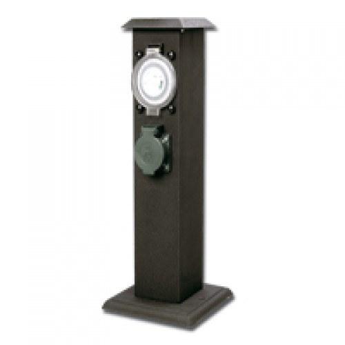 Zahradní sloupek - zásuvka (dvojnásobná + časovač) - Osvětlení, elektro u jezírka Zahradní sloupky,zásuvky