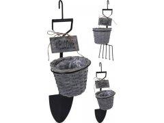Zahradní nářadí s proutěným obalem (dekorace)