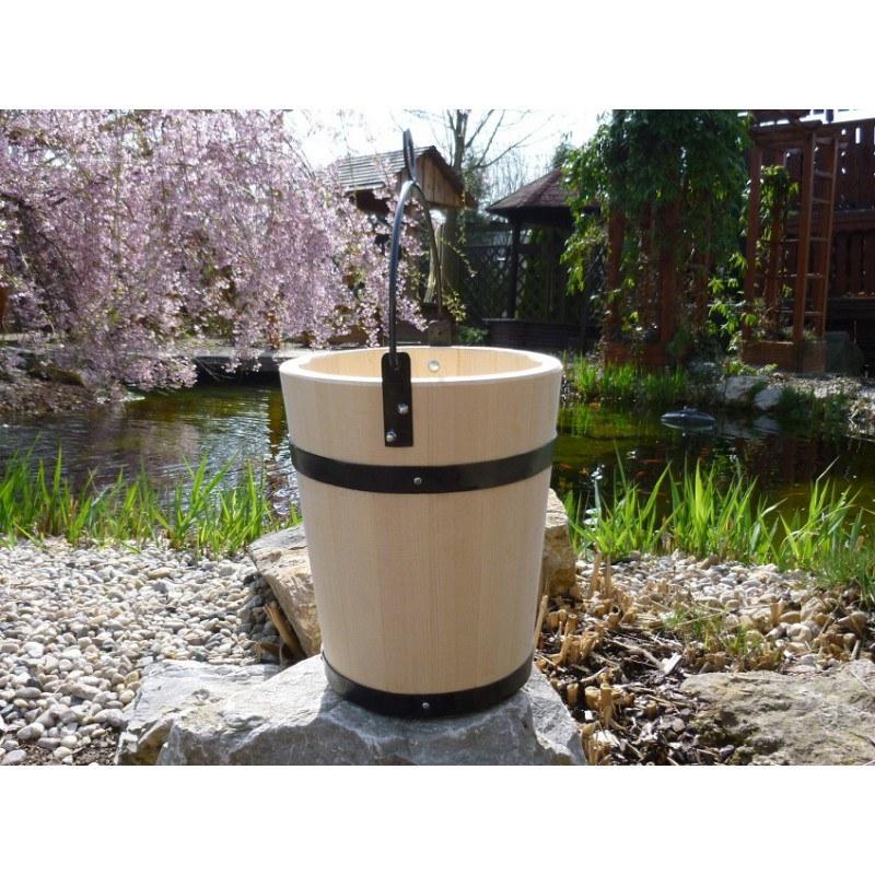 Dřevěné vědro průměr 27cm výška 33cm - Zahradní architektura Květinové truhlíky, studny