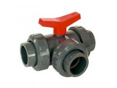 PVC kulový třícestný ventil 20mm (T)